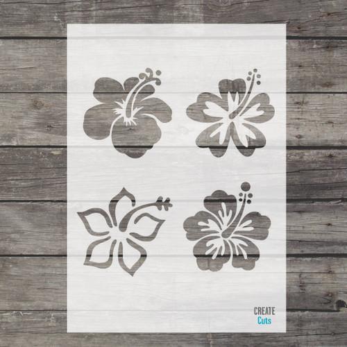 Hibiscus Flower Stencil Set of 4