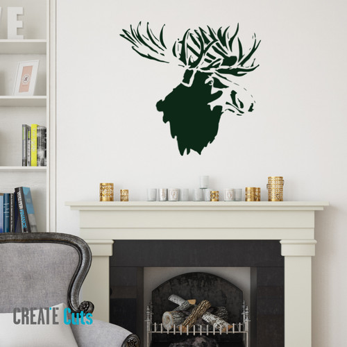 Moose Head picture stencilled above fireplace