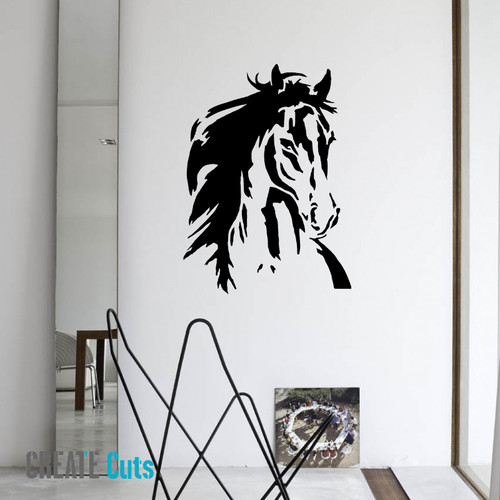 Horse Head Stencilled on the Wall