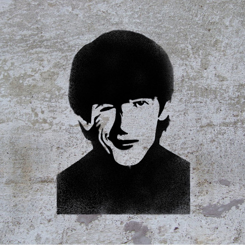 George Harrison picture stencilled on the wall