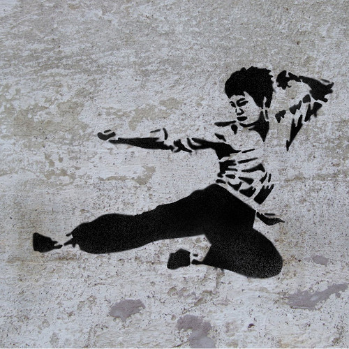 Bruce Lee Martial art stencil