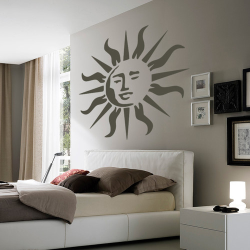 Sun large wall stencil