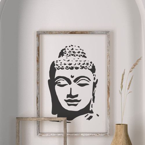 Buddha image in frame stencilled on wall