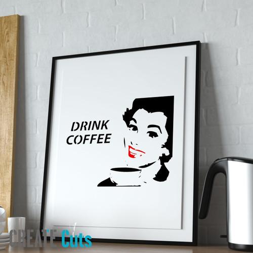 Drink Coffee stencil picture