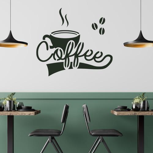 Coffee cup stencil on coffee shop wall