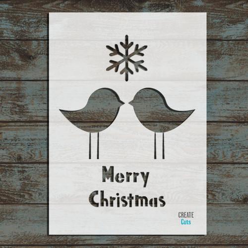 Christmas Birds Stencil
