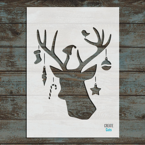 Christmas Reindeer with Baubles Stencil