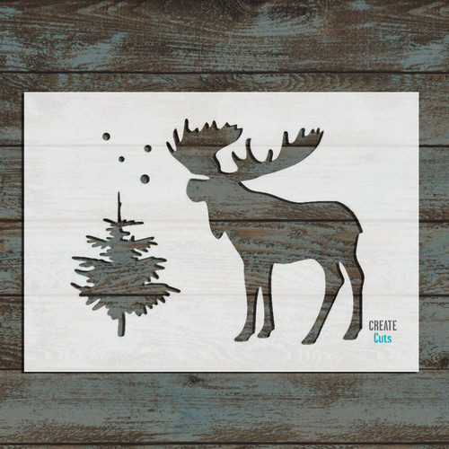 Moose and Christmas Tree Stencil