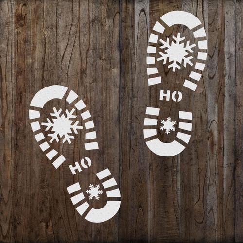 Santa Boot prints stencil sprayed on the floor