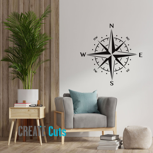 Compass large stencil on the living room wall