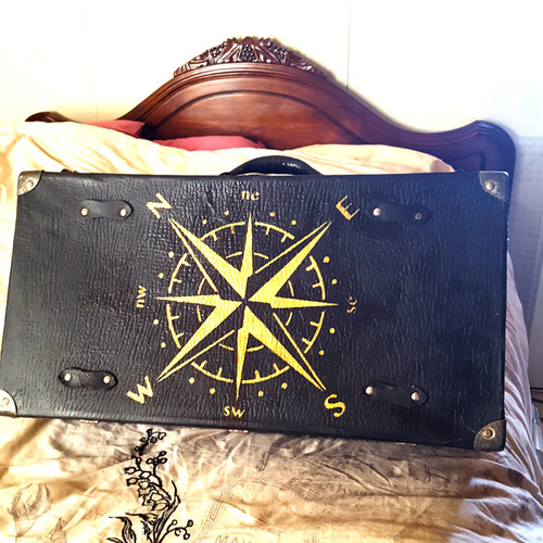 Compass stencil on old suitcase (clients picture)