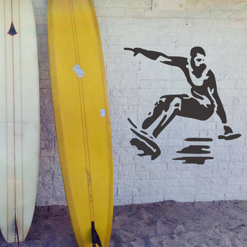 Surfing Man stencilled on the wall