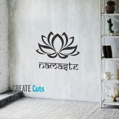 Lotus flower on yoga studio wall