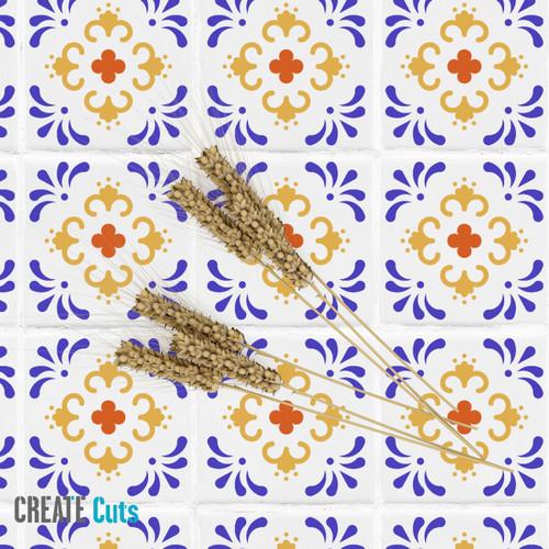 Mexican style stencil Driada stencilled on the floor