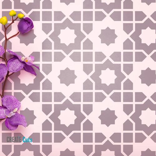Arabic style stencil Arabian Nights stencilled on the floor