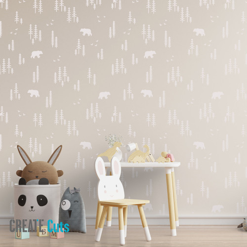 The Forest Bear pattern wall stencil in children's room