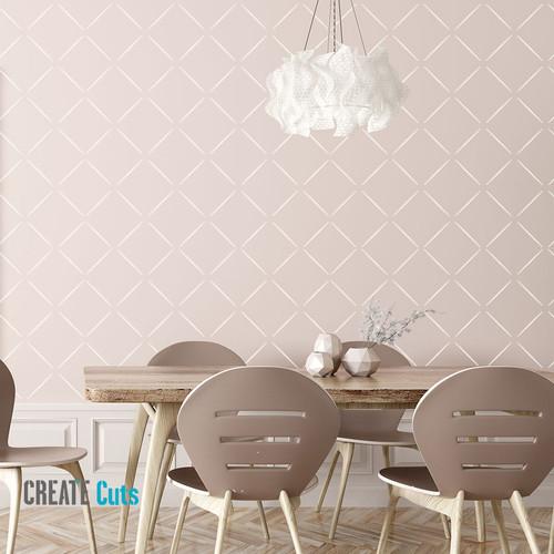 Diamond wall pattern on dinning room wall