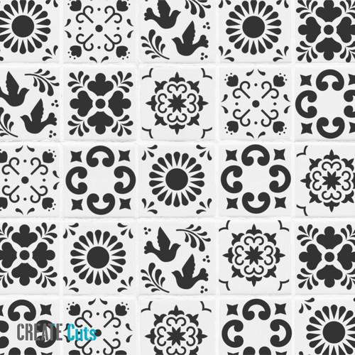 Mexican style Talavera design stencils