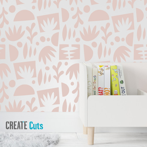 The Funky Shapes pattern wall stencil kids room