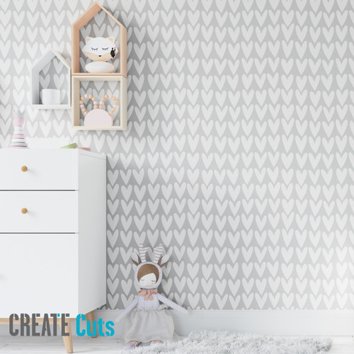 The Hand Drawn HEART pattern wall stencil kids room