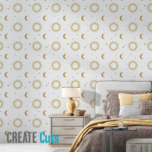 Sun Moon pattern wall stencil on bedroom wall