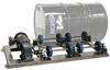 Single Stationary Drum Rollers roll one drum on its side to mix the contents