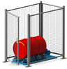Enclosure with safety interlock automatically shuts off the drum roller when thedoor is opened.