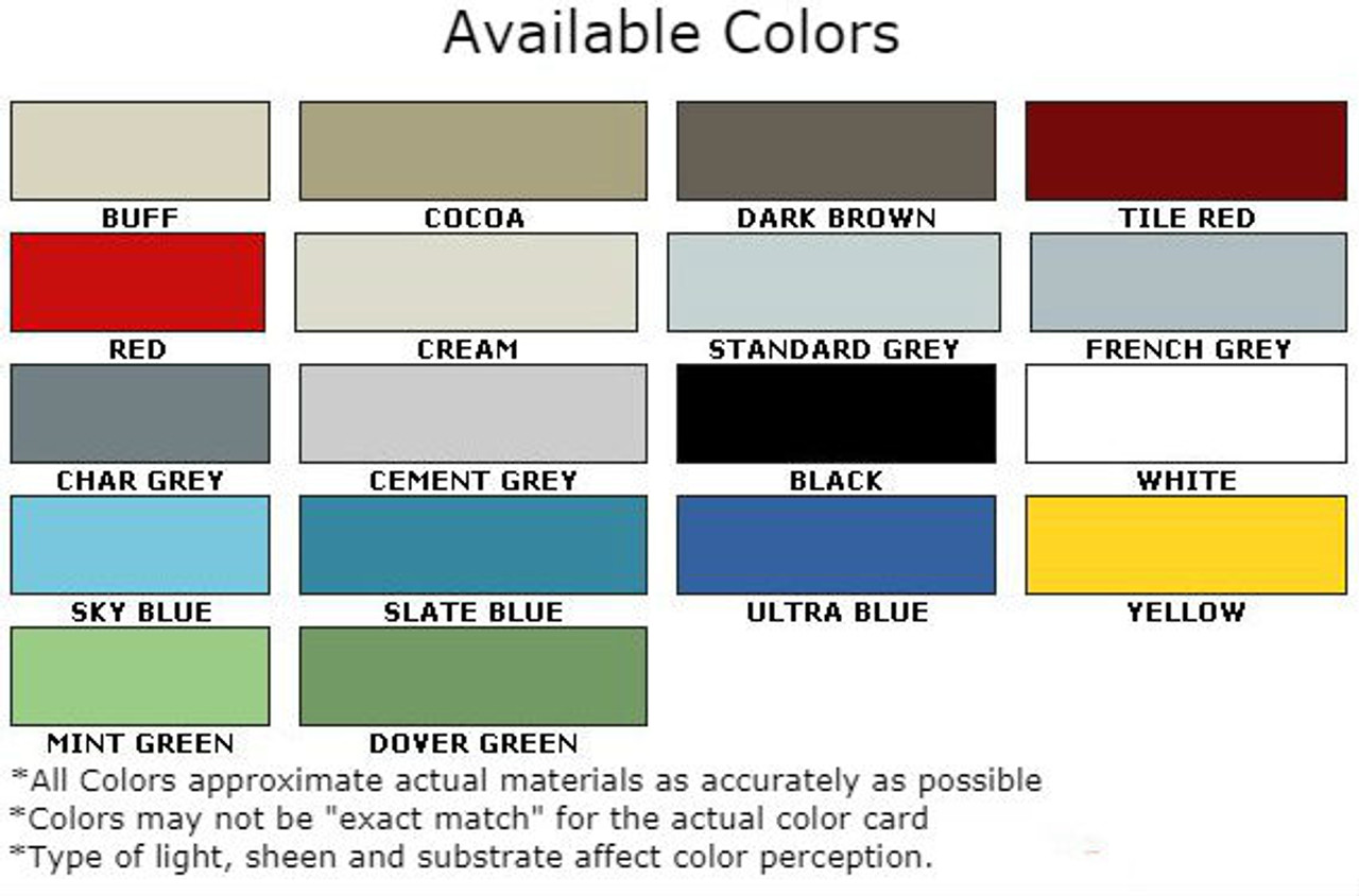 Available Colors for Non-Slip Epoxy