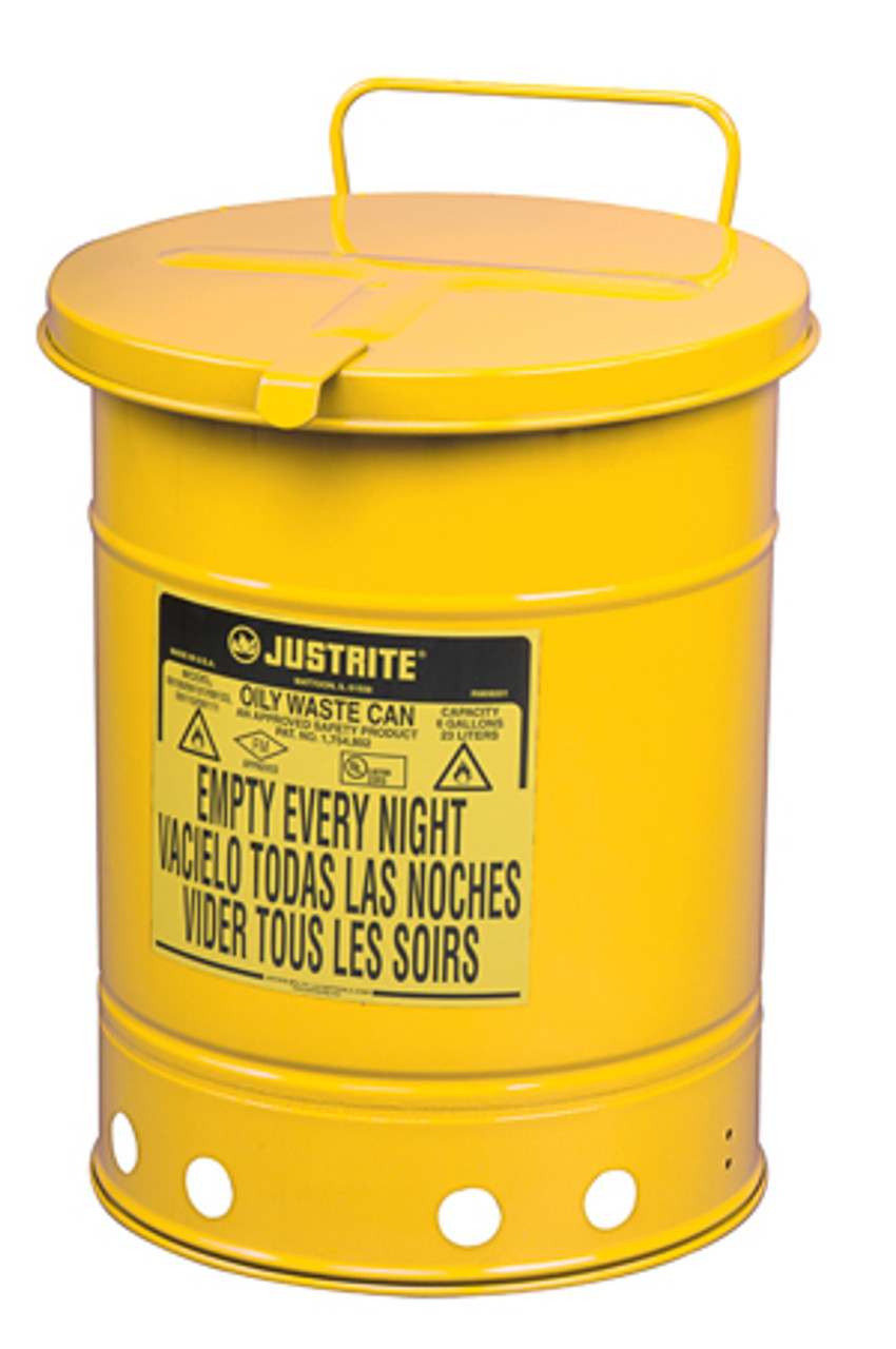 Red Justrite 09710 Steel Oily Waste Can with Hand Operated Cover 21 Gallon Capacity
