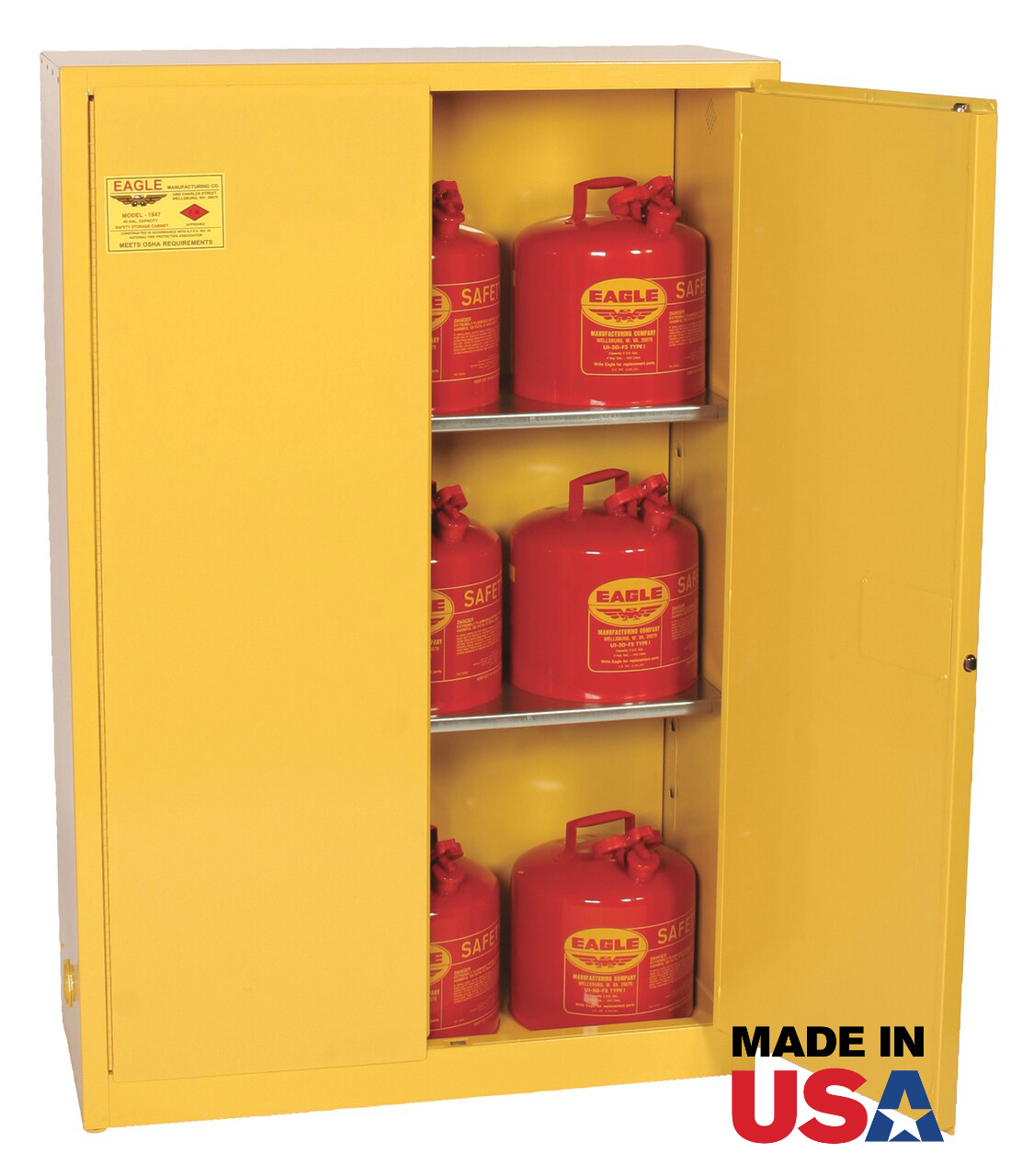 Eagle 4510 Flammable Safety Cabinet 45 Gallon Self Close