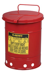 Justrite Oily Waste Can - 10 Gallon - Red - Hand Operated Cover