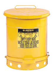 Justrite Oily Waste Can - 14 Gallon - 09501 - Yellow - Foot Operated Cover