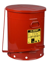 Justrite Oily Waste Can - 21 Gallon - Red - 09700 - Foot Operated Cover