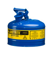 Justrite Blue 2.5 Gallon Safety Can