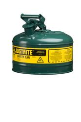Justrite Green 2.5 Gallon Safety Can