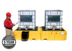 UltraTech Twin IBC Spill Pallet 1142 with Bucket Shelf - Left - No Drain