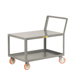 48 Length x 30 Width Little Giant NBB-3048-8PY-2H 12-Gauge Steel Double Handle Platform Truck with 8 Polyurethane Wheels 3600 lbs Capacity