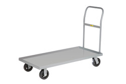 3600 lbs Capacity Little Giant NBX3-2448-6PY 12-Gauge Steel Platform Truck with 3 Lip Edge and 5 Polyurethane Wheels 48 Length x 24 Width