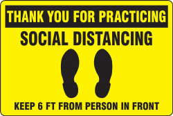 Yellow Social Distancing Floor Sign