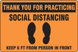 Orange Social Distancing Floor Sign
