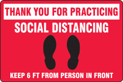 Red Social Distancing Floor Sign