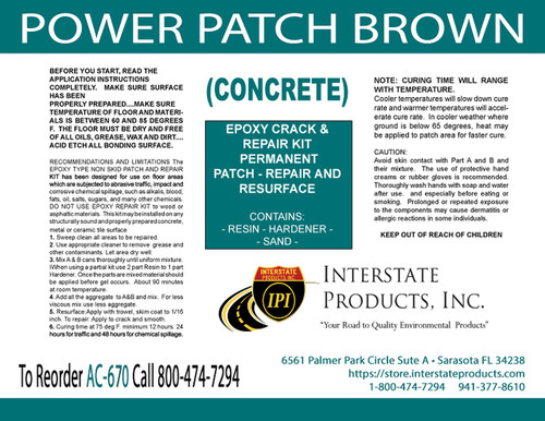Power-Patch Concrete Epoxy Kit (Brown)