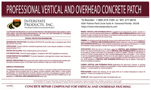 Vertical & Overhead Concrete Patch Kit Label Image
