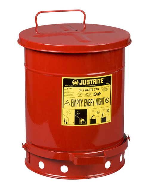 Justrite 10 gal. Oily Waste Can w/ Foot Operated Cover