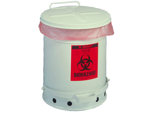 Justrite Biohazard Waste Can - 6 Gallon - White - 05910