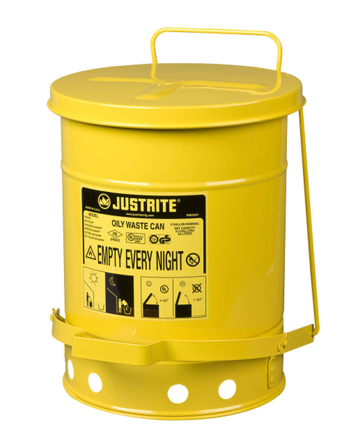 Justrite Oily Waste Can - 09101 - with Foot Operated Cover - 6 Gallon - Yellow