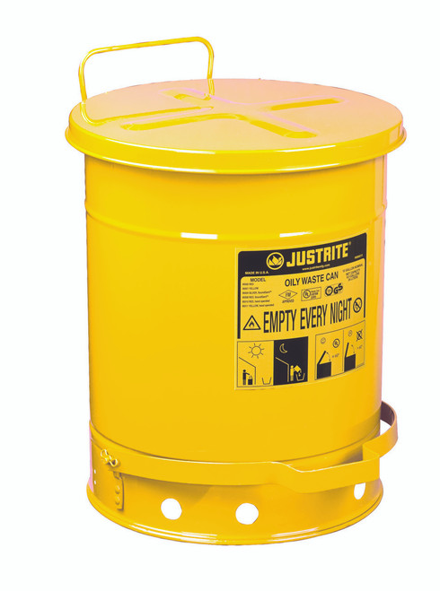 Justrite Oily Waste Can - 09301 - 10 Gallon - Yellow - Foot Operated Cover