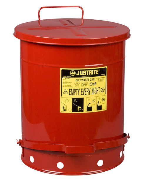 Justrite Red Oily Waste Can - 09500 - 14 Gallon