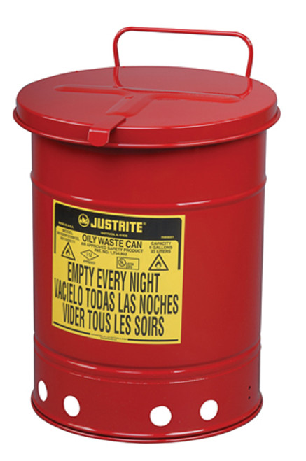 Justrite Oily Waste Can 09510 - 14 Gallon - Red - Hand Operated Cover