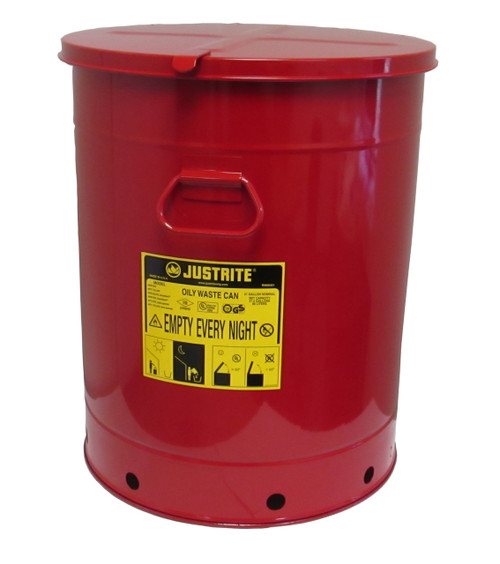Justrite Oily Waste Can - 09710 - 21 Gallon Red with Hand Operated Cover